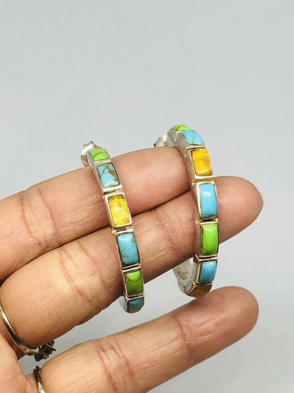 Vtg .925 Sterling Silver Green Blue TURQUOISE Multicolored Stones HOOP Earrings