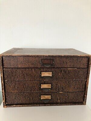 Vintage 4 Drawer Stationary Box Cabinet By Winel Made in Great Britain