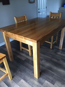 Solid wood harvest table & 4 chairs