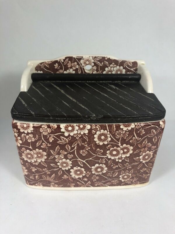 Vintage Brown Floral Transferware Salt Box With Wood Lid Ceramic 9N