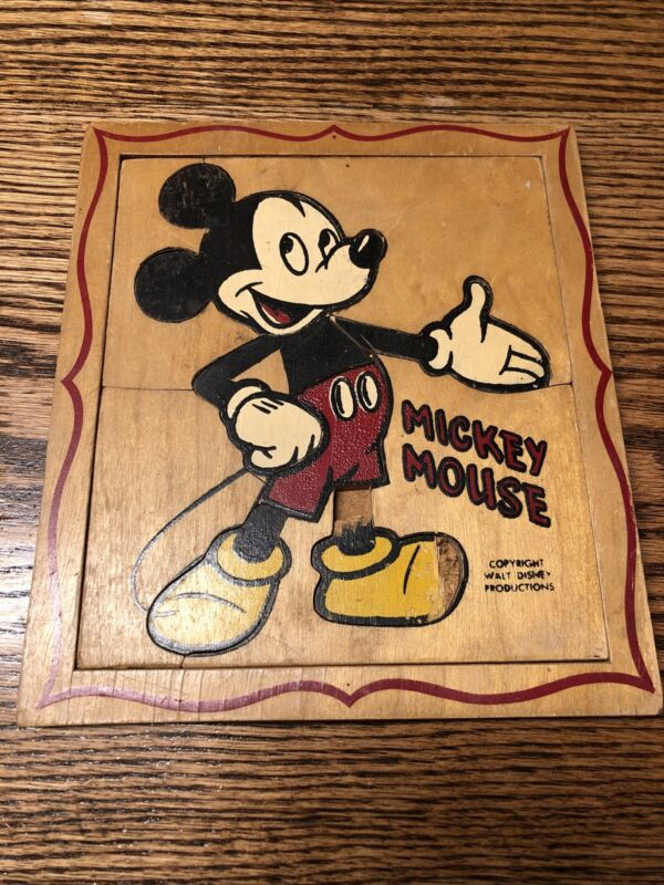 Vintage Rare Wooden Painted Mickey Mouse Puzzle Walt Disney Prod. Old !!!!
