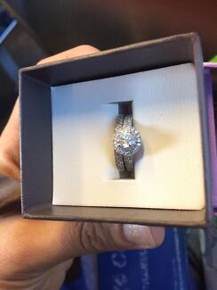 Wedding ring set 14k white gold