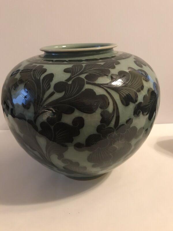 Vintage Korean Celadon Round Pot / Vase / Jar ~ marked