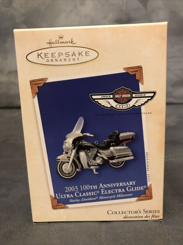 Hallmark Keepsake 100th Anniversary Harley Davidson Electra Glide Ornament 2003