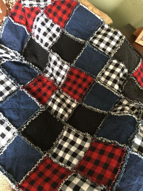 New Denim Flannel Throw Size Rag Quilt Handmade