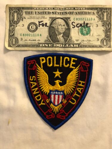 Vintage Sandy Police Patch Utah un-sewn (Harder to find gold eagle with shield)