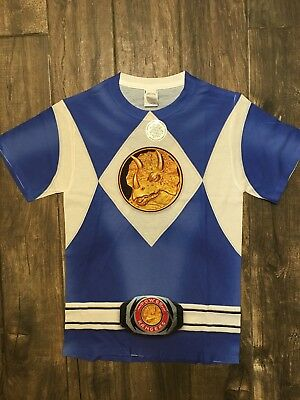 NWT Authentic Blue Power Rangers Costume Sublimation Small Shirt Licensed (Authentic Power Ranger Costumes)