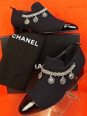NIB CHANEL NAVY TWEED SILVER CHARMS COINS CHAIN BLACK PATENT CAP TOE LOAFERS 41