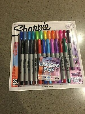 Sharpie Electro Pop Permanent Markers Ultra Fine Point Assorted Colors 24 Count