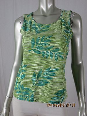 WHITE STAG SZ S 95% Cotton Sage Green-Turquoise Marled Tank Top Blouse Shirt