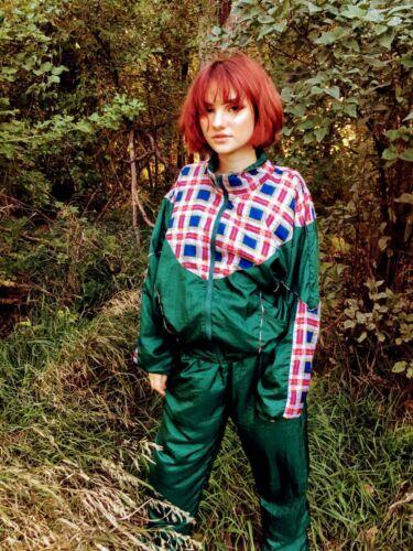 Vintage 80's Track Jogging Suit Nylon Green Red Plaid