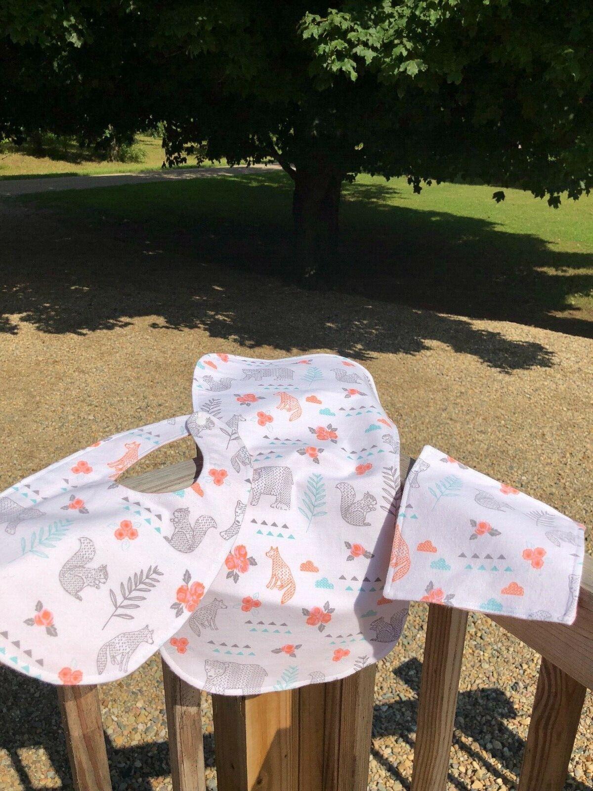 Baby Gift Set Handmade Bib Burp Cloth Wash Cloth Girl Boy Fo