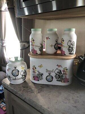 Alice in wonderland Bread Bin Kilner Tea Coffee Sugar Kilner Cookie Jar (Cookies In Jar)
