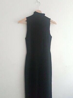 Issey Miyake fine knit Long Black Stretch High Neck Dress Size S/M