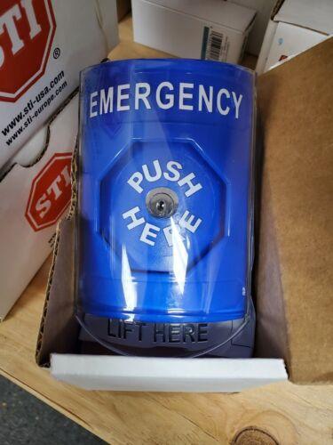 New - BLUE Indoor Emergency Stopper Station Push, Key to reset STI SS2420EX-EN
