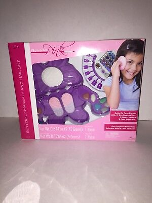 BUTTERFLY MAKE-UP AND NAIL SET RUNWAY PINK  AGES 5+ - Butterfly Makeup Kids