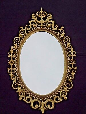 Vintage Burwood Products Gold Gilt Ornate Hollywood Regency Oval Wall Mirror
