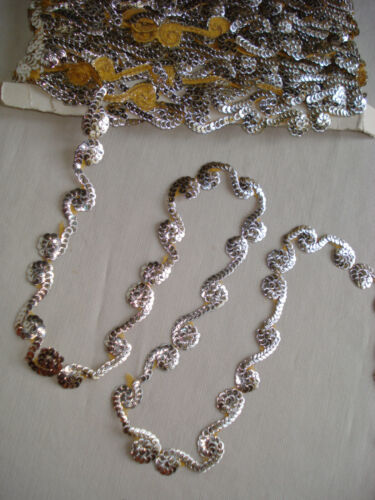 antique 19th c french silver sequin embroidered trim / appliques -  per yard