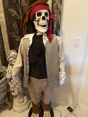 5' Animated Pirate Skeleton Gemmy Halloween Prop Dancing Singing Spirit