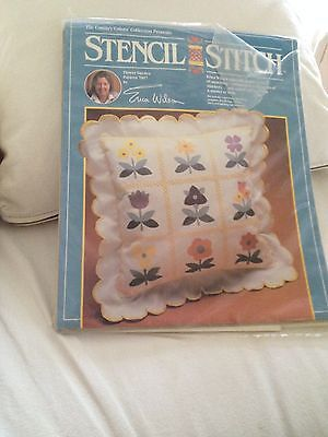 Erica Wilson STENCIL STITCH Country Collection FLOWER GARDEN Pillow Kit Opened