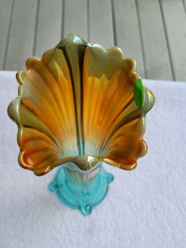 WOW Aqua Opalescent Northwood Carnival Glass Four Pillars Vase Signed Square Top