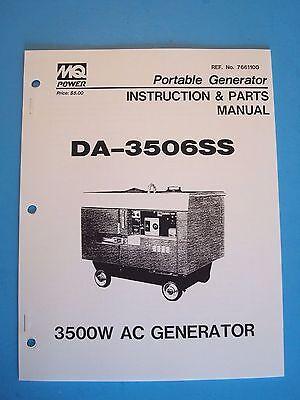 Mq Power Portablegenerator Da-3506ss 3500w Ac Generator Instructionparts Manual