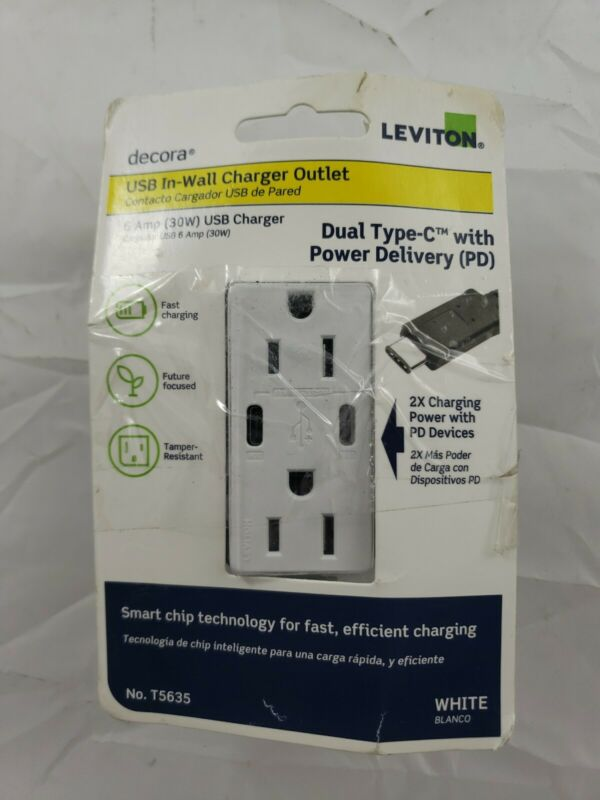 Leviton - 6A/30WT USB DUAL WALL CHARGER - White