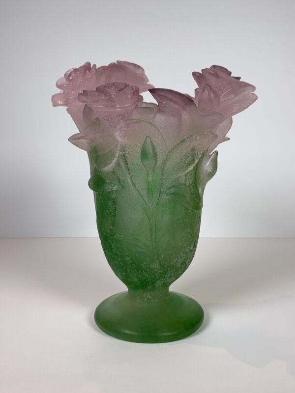 "Daum France Glass Rose Vase 7"" tall"