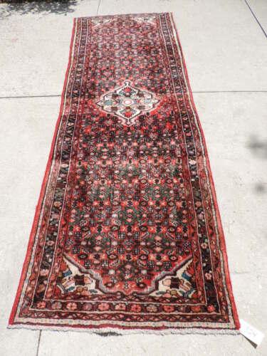 4x10ft. Vintage Handmade Hamadan Wool Runner