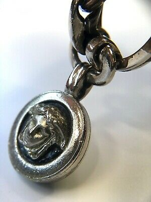 GIANNI VERSACE VINTAGE '90s MEDUSA METAL KEY CHAIN DOUBLE RINGS AGING SILVER