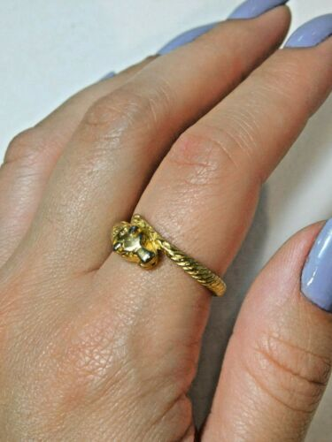Vintage Dainty Leopard Panther Cat Gold Tone Size 9 Cocktial Ring 9b 103