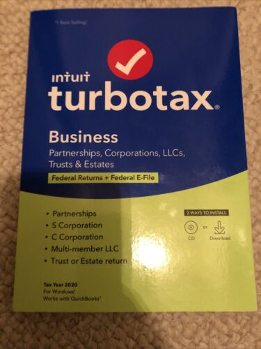 TurboTax Business 2020 Tax Software For PC Fed Return Fed E-File - Corporation - $94.99