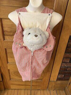 Vintage 70's Snugli Baby Carrier Red White Seersucker