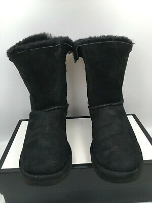 UGG Shearling Buckle Nash Boots 1012446 Black Suede Women's Size 8 US/ 39 EU