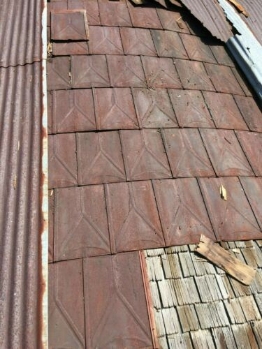 RECLAIMED ANTIQUE VICTORIAN SHINGLES PRESSED TIN ROOF PANELS RUSTY BEAUTIFUL!
