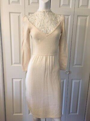 - St. John Evening For L. Magnin Vintage Knit Dress Ivory Lace Sequin S XS