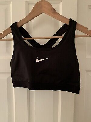 Nike - Black Logo Tick Dri Fit Sports Bra Bralette Crop Top - Size L