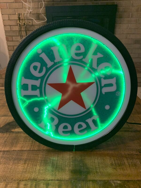 RARE Heineken Neon Sign Memorabilia Green Table Top Electric Motion Lamp Round