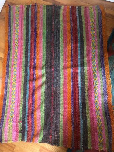 "Pretty Peruvian Peru Colorful Hand Woven Sheep Wool Rug 64"" X 50"""