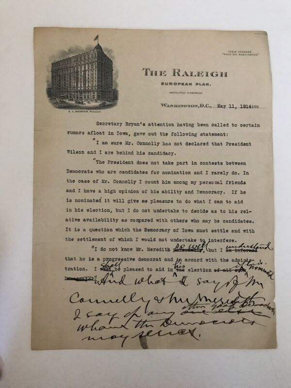 William Jennings Bryan Typed Manuscript with Handwritten Notes - Amazing Content