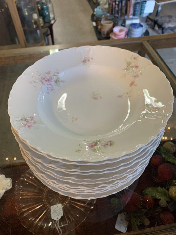 """Haviland Limoges Schleiger 452 TARASCON Set of 12 Soup Bowls 9"""" pink violets"""