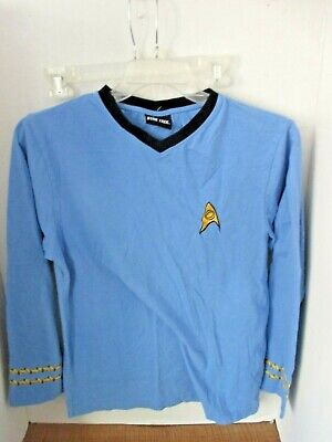 STAR TREK~Blue SPOCK CAPTAIN Pajama Shirt~~Men's Medium - Star Trek Blue Shirt Character