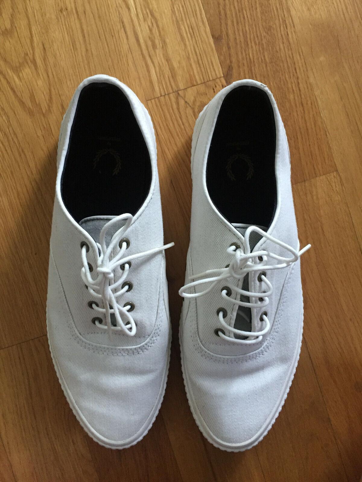 FRED PERRY Sneaker Turnschuhe Leinen, weiß, Gr. 42 (9) Top Zustand