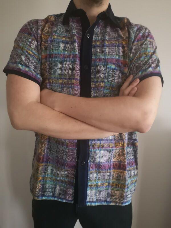 Guatemalan Ikat Mayan Button Down Short Sleeve Men