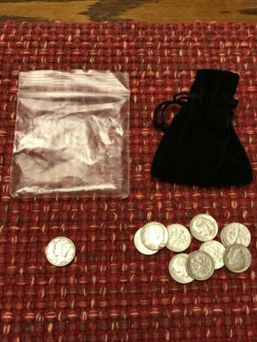 Sack of 11 Circulated Silver Roosevelt Dimes with BONUS 1941-P Mercury Dime