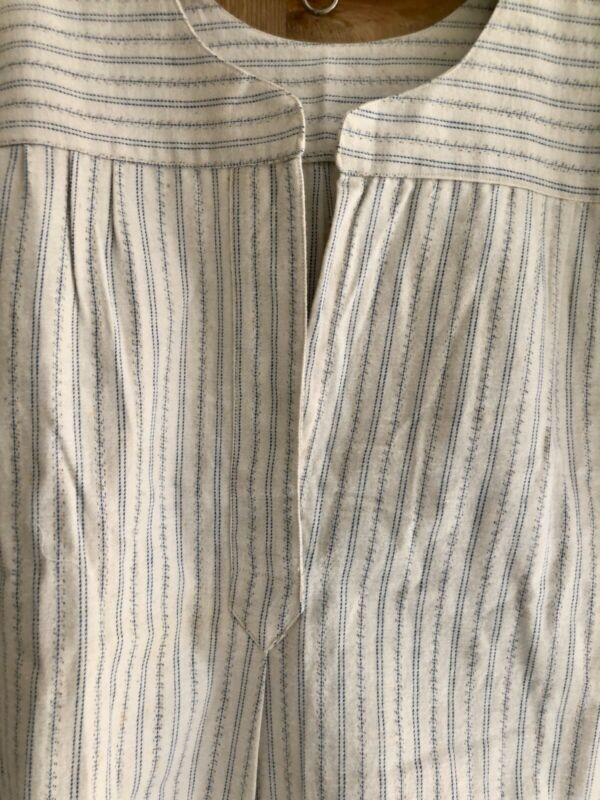 Antique French RUSTIC PEASANT deadstock woman cotton FLANEL nightshirt c1900