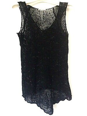HELMUT LANG knitted fish net boucle sleeveless black top high low size M