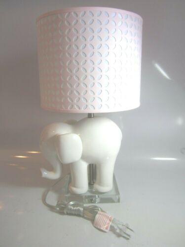 NEW Pottery Barn Kids White Ceramic Elephant Lamp w/ Pink & White Shade