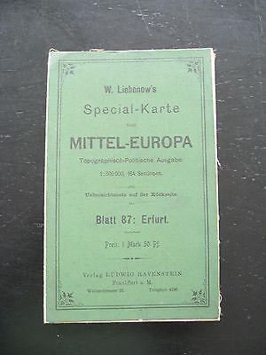 Landkarte Special Karte von Mittel Europa Blatt 87 Erfurt um 1910 Weimar Apolda