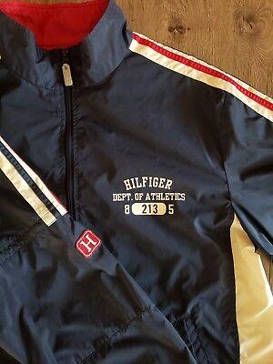 Tommy Hilfiger Mens Windbreaker Jacket Sz L Spell Out Zip Off Sleeve Blue Stripe